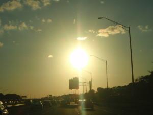 Een heel andere zonsondergang als een week geleden